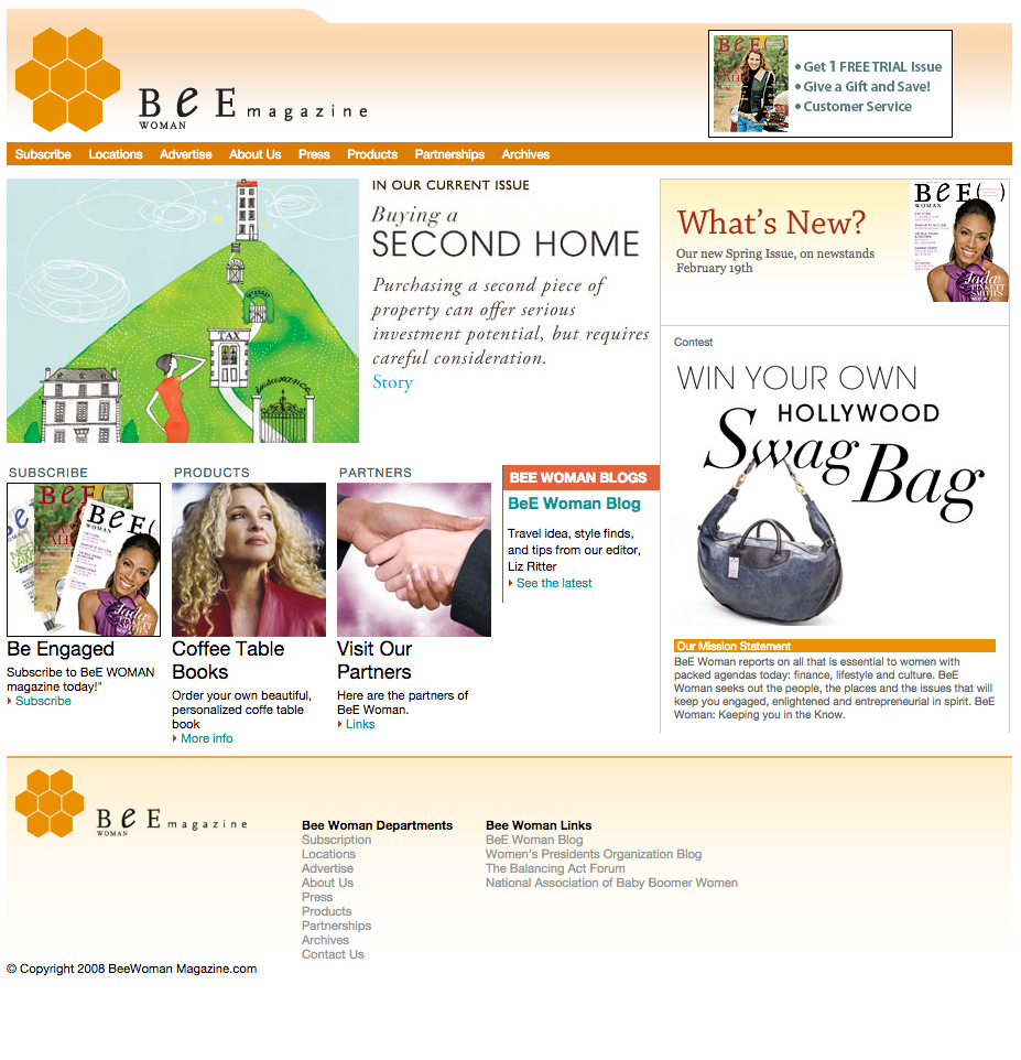 Screenshot of the home page on Bee Woman Magazine's website