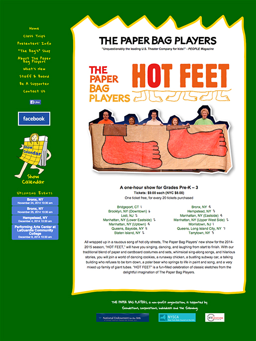 Screen shot of the hot feet performance page on the Paper Bag Players website