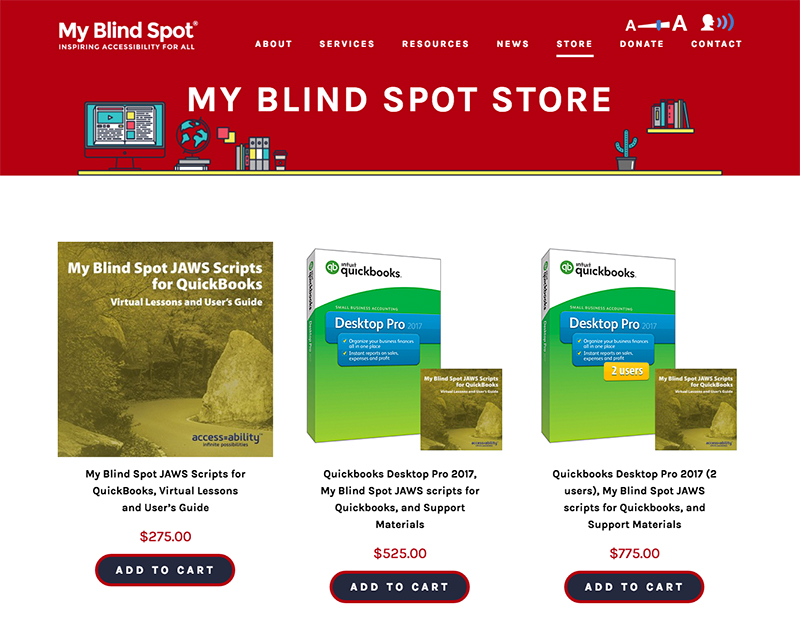 Screenshot of the store page on My Blind Spot's website.