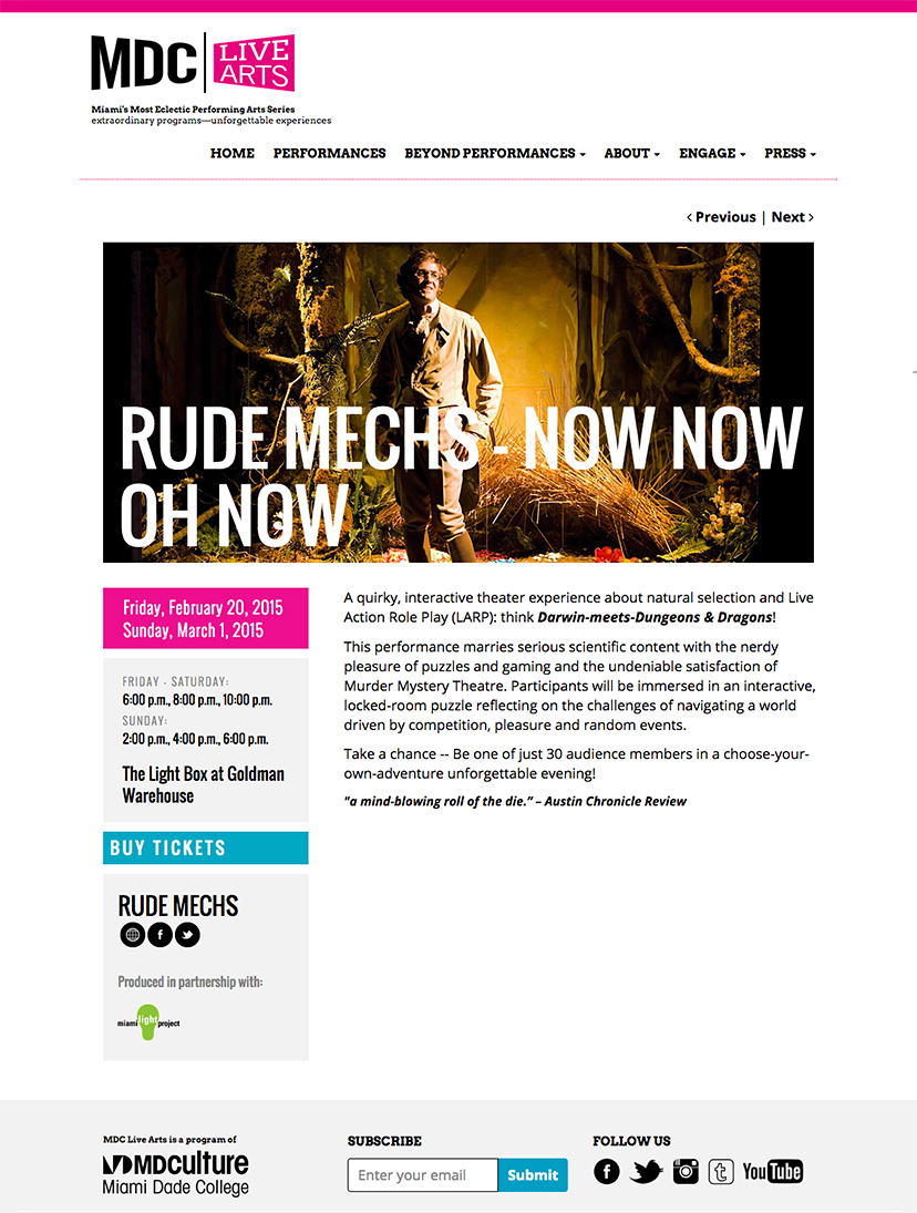 Screenshot of the events page on MDC Live Arts' website