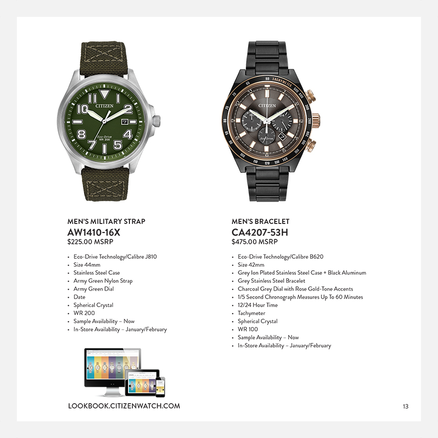 Citizen Watch Spring 2015 Look Book spread